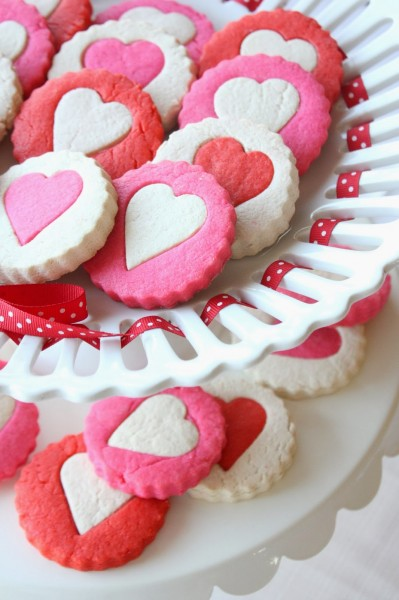 two tone heart cookies for valentines day
