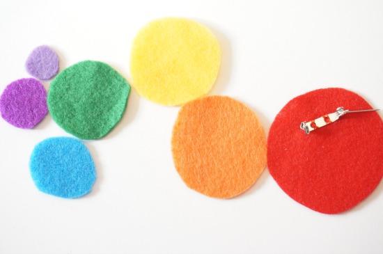 felt rainbow brooch discs cutout