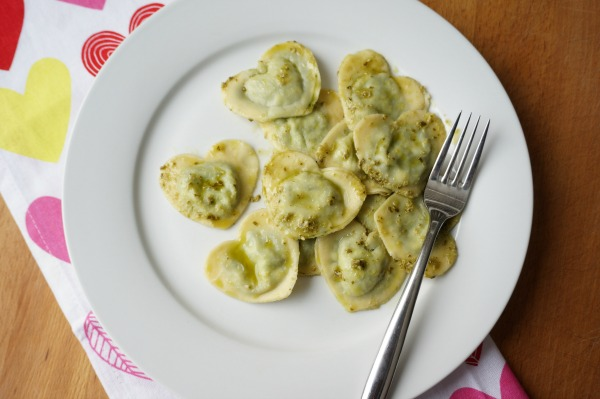 heart shaped stuffed ravioli