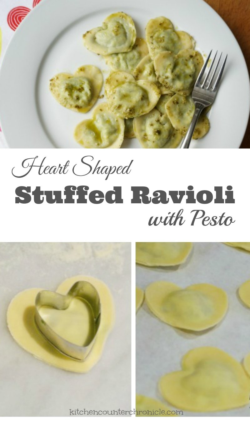 heart shaped stuffed ravioli with pesto pin-min