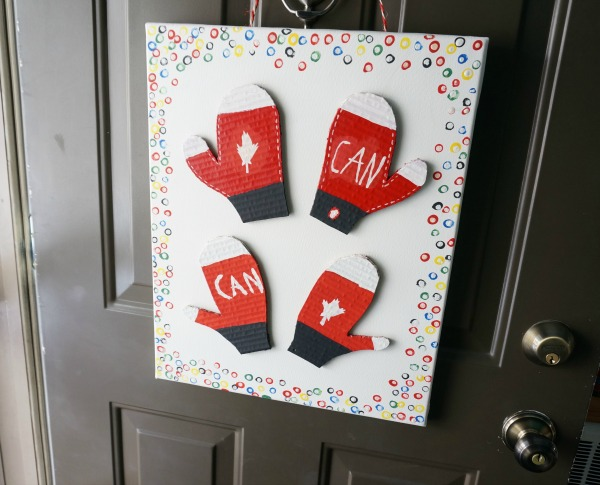 Olympic craft for kids hanging on the door