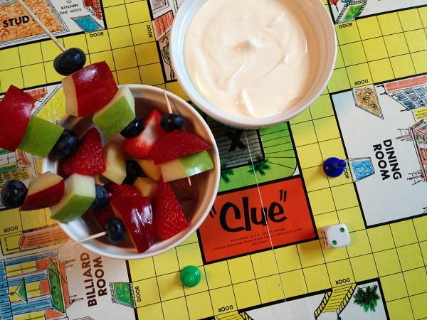clue fruit kebab and yogurt dip with board
