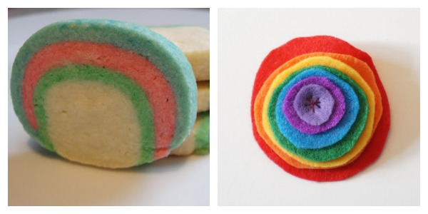 rainbow collage cookie and brooch