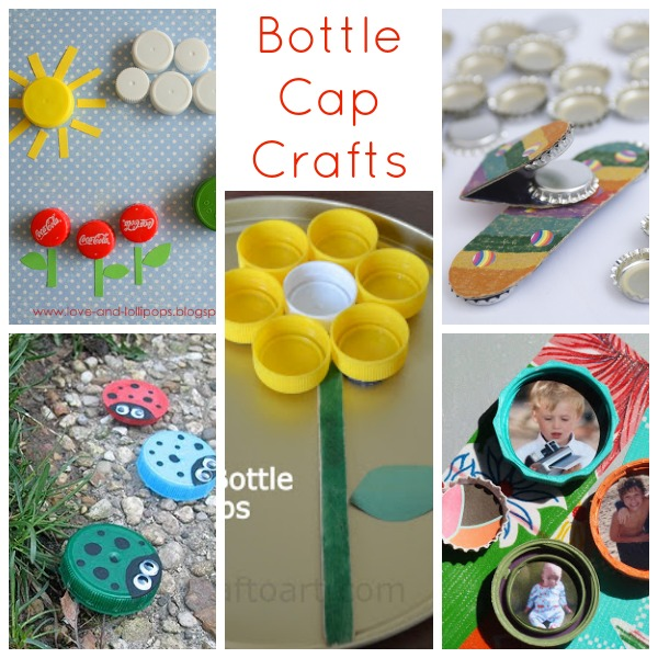 25 recycled crafts for kids for Water bottle cap crafts