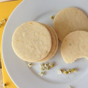 lemon and chamomile shortbread cookies on a plate