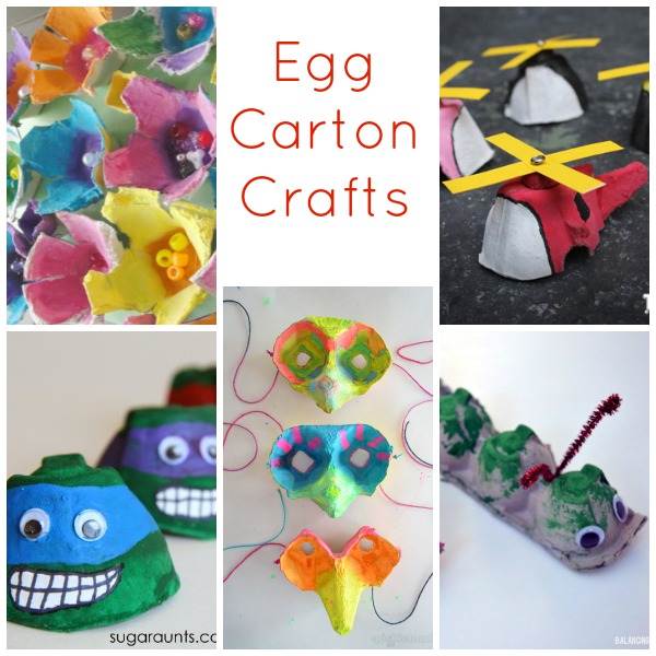 25 recycled crafts for kids for Plastic egg carton crafts