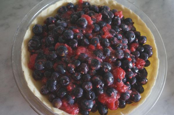 blueberry pie filling in pie crust