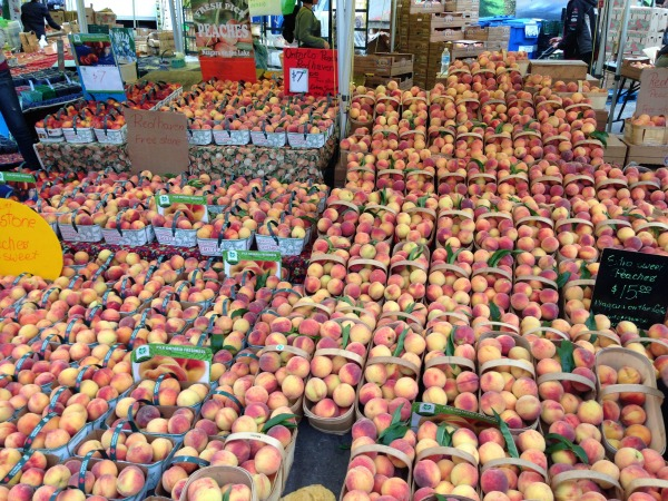 peaches at the market