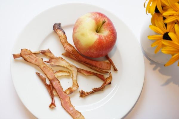 caramelized apple crisps on plate