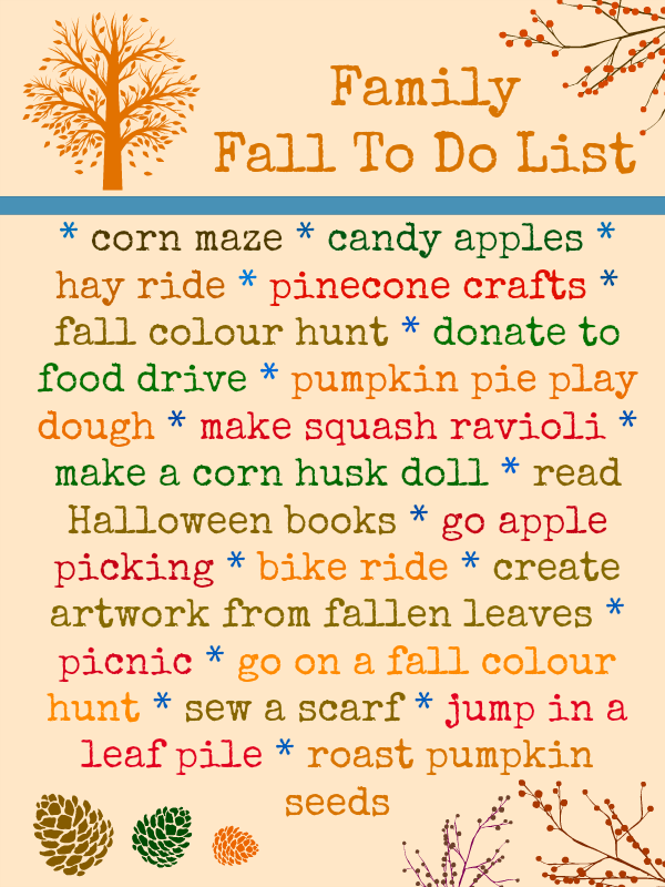 Family Fall To Do List