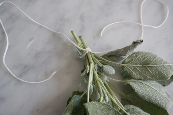 tie herbs with string