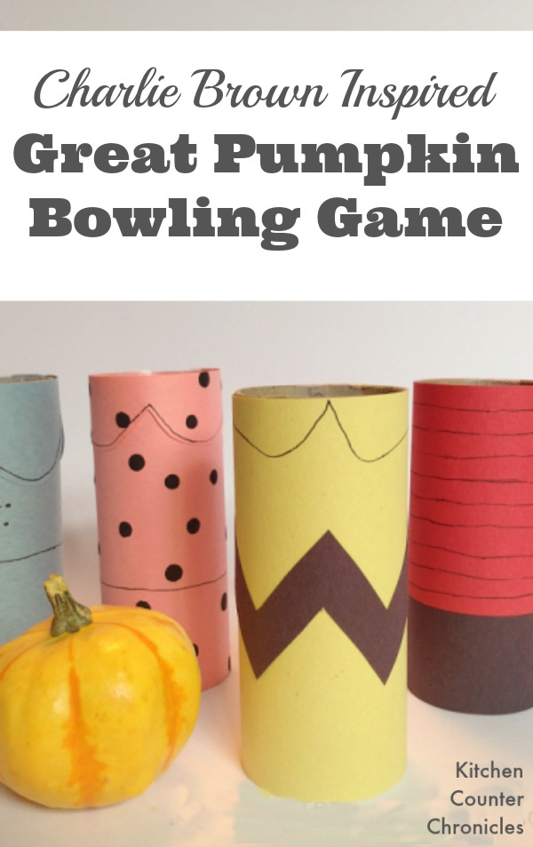 Charlie Brown Great Pumpkin Bowling Game - Craft up a simple gourd bowling game. With a few toilet paper rolls and a little imagination you can bring Charlie, Lucy, Snoopy and the gang to life. | Halloween Craft for Kids | Halloween Game for Kids |