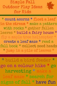 Simple Outdoor Play Ideas for Kids - A fabulous collection of free activities to inspire families to get outside and play in the fall   outdoor play for kids   nature play   fall activities for kids  