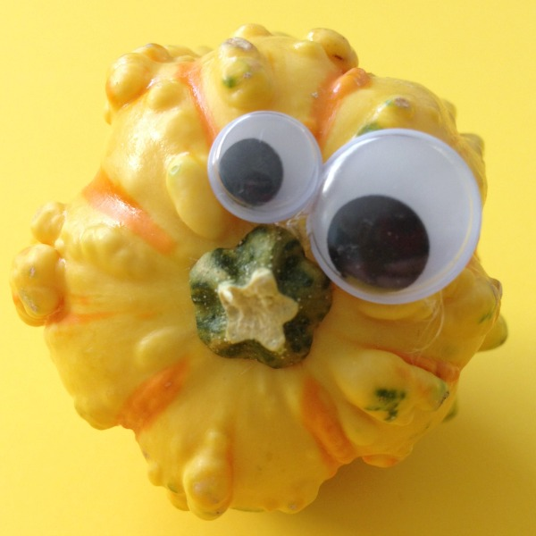 googly eyes and gourd