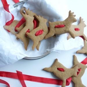 gingerbread reindeer cookie garland in tin