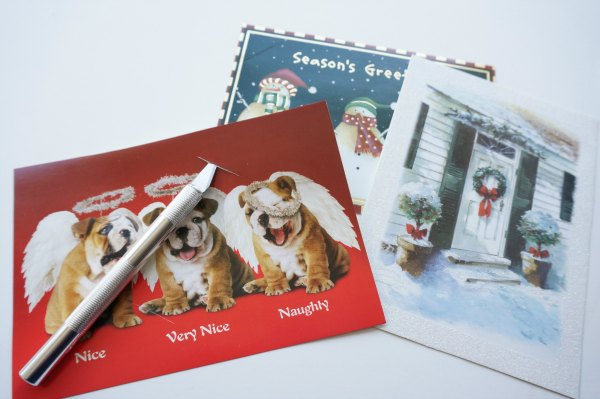 christmas cards with knife