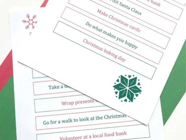 eco friendly advent calendar activities printable