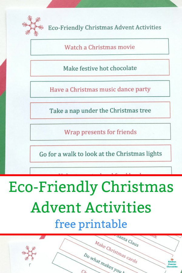eco friendly christmas advent calendar activities printable