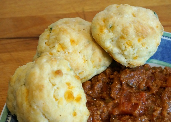 cheddar and herb biscuit with stew