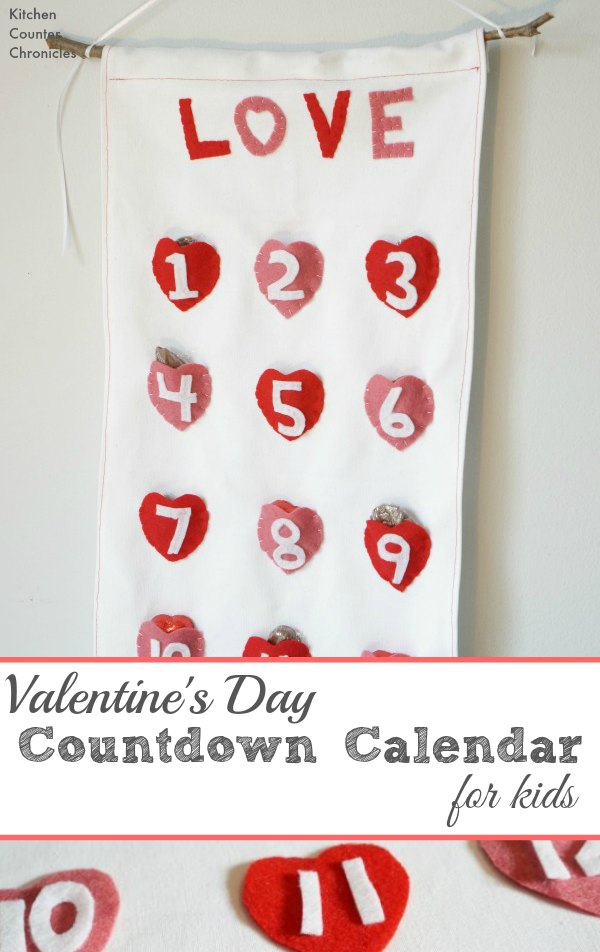 Valentine's Day Countdown for Kids - A simple tutorial for a lovely reusable Valentine's Day countdown calendar. Fill the calendar with chocolates, or little messages of love - kids will love counting down until Valentine Day. | Valentine's Day Craft | Valentine's Day Activity for Kids |