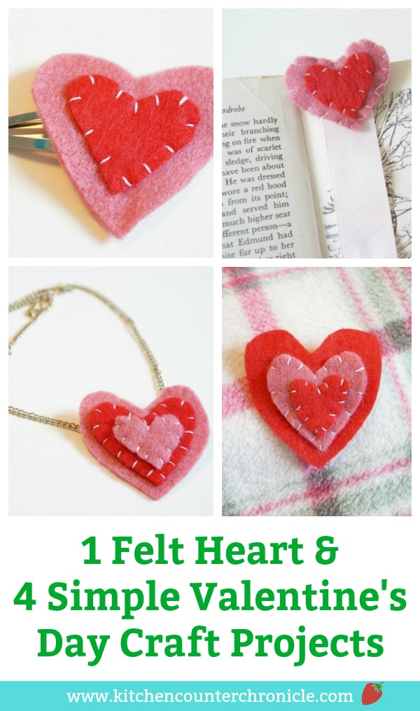 Felt Heart Valentine's Day Craft - One simple felt heart can be used to make these 4 lovely Valentine's Day crafts. Simple crafts for kids to make and give. #ValentinesDayCrafts #ValentinesDay #FeltCrafts #craftsforkids