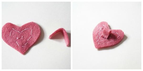 felt heart necklace loop