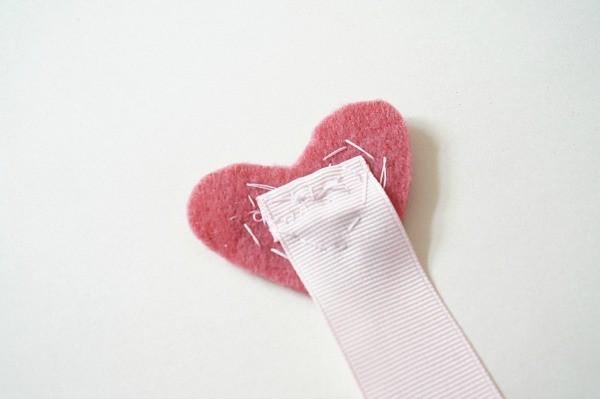 felt heart on ribbon