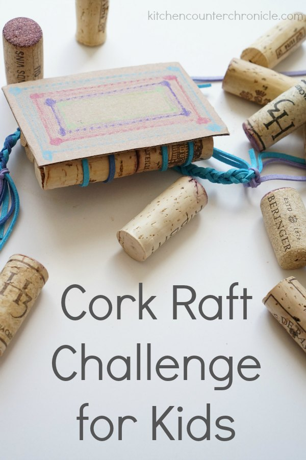 cork raft challenge for kids - A super fun science challenge for kids to take on. How will you transport the family of peg people across the water...safely? | STEM for Kids | STEM Activity | Recyclables Activity | Cork Craft |