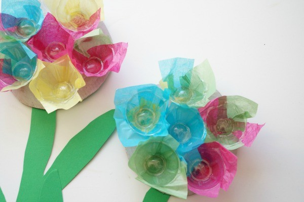 egg carton flower done side