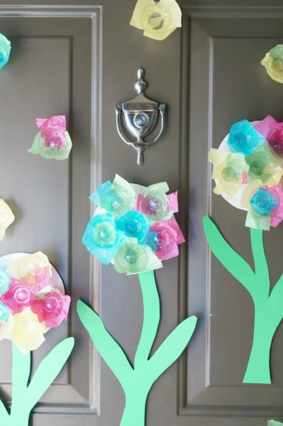 egg carton flowers on door