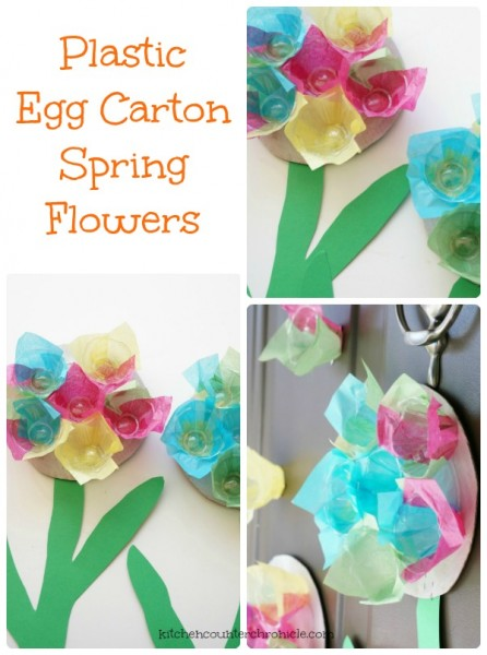 plastic egg carton flowers spring