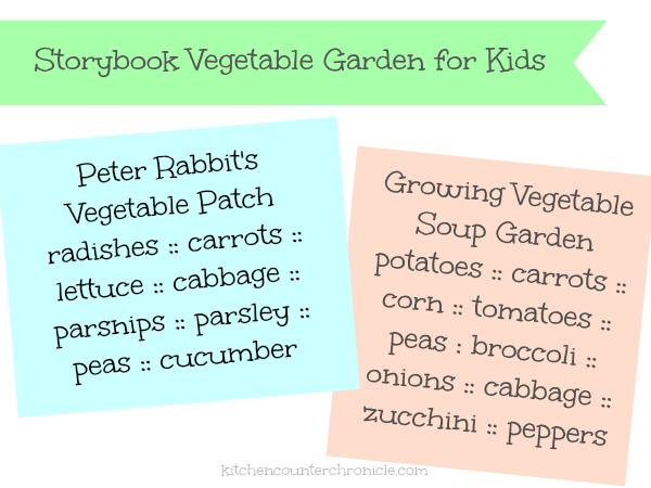 storybook vegetable garden for kids seed list