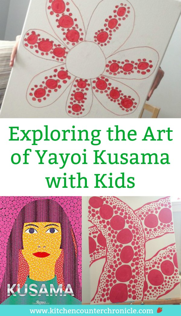The Queen of Polka Dots is a fascinating modern artist - Yayoi Kusama's story and artwork are inspiring for kids of all ages. Introduce your kids to Kusama and create a piece of polka dot art. #artforkids #yayoikusama #artproject #artprojectforkids #modernartforkids #polkadots #kusama
