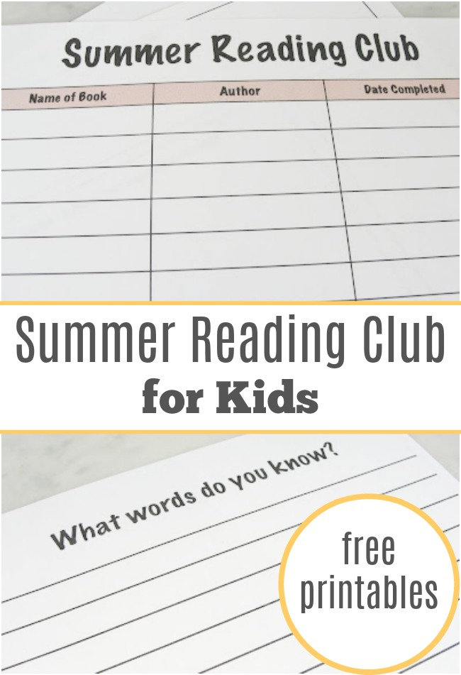 Summer Reading Club - Free Printables - Have fun this summer reading and writing about the books you discover. A great summer reading club for kids of all ages. | Summer Books for Kids | Summer Activities for Kids | Book Club for Kids |