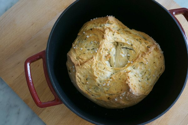 dutch oven herb bread baked