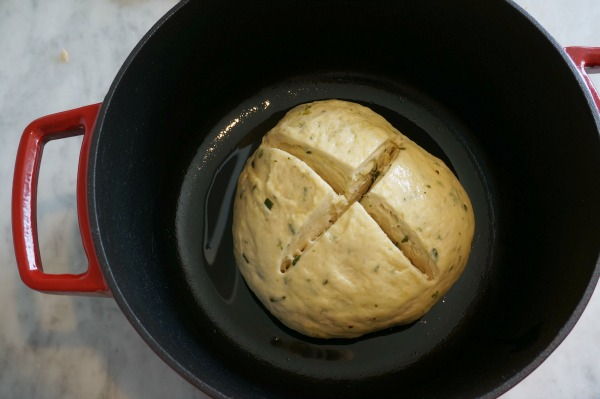 dutch oven herb bread with cross
