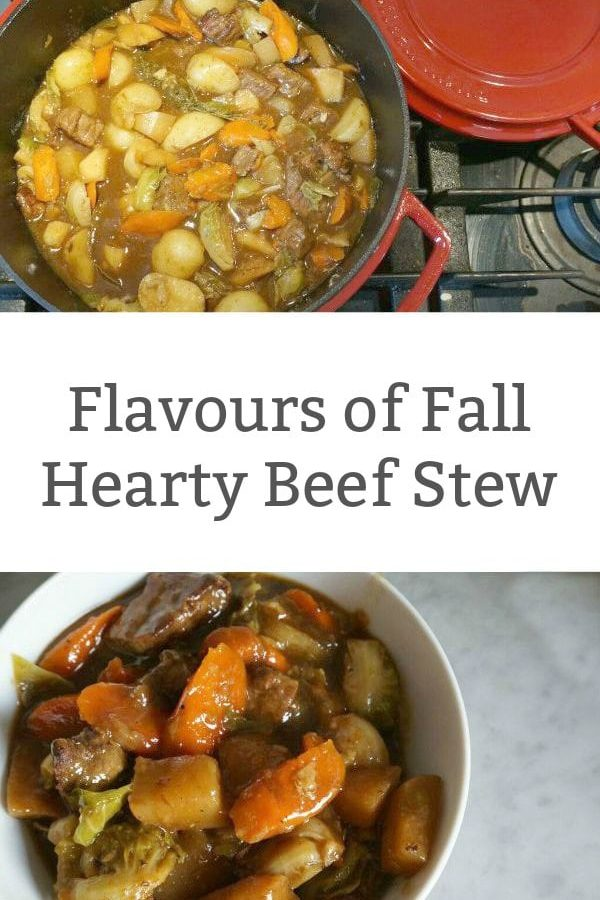 Flavours of Fall Beef Stew - Cook up a big batch of this hearty beef stew that has all the flavours of fall; parsnips, carrots, brussel sprouts and more. | Easy Dinner Recipe | Stew Recipe | Beef Stew Recipe |