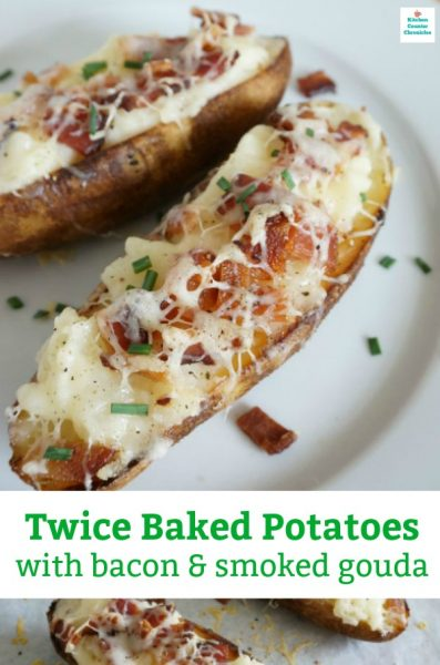 loaded twice baked potatoes with bacon, cheese and roasted garlic