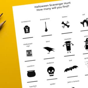 outdoor halloween scavenger hunt for kids printed out with pencils