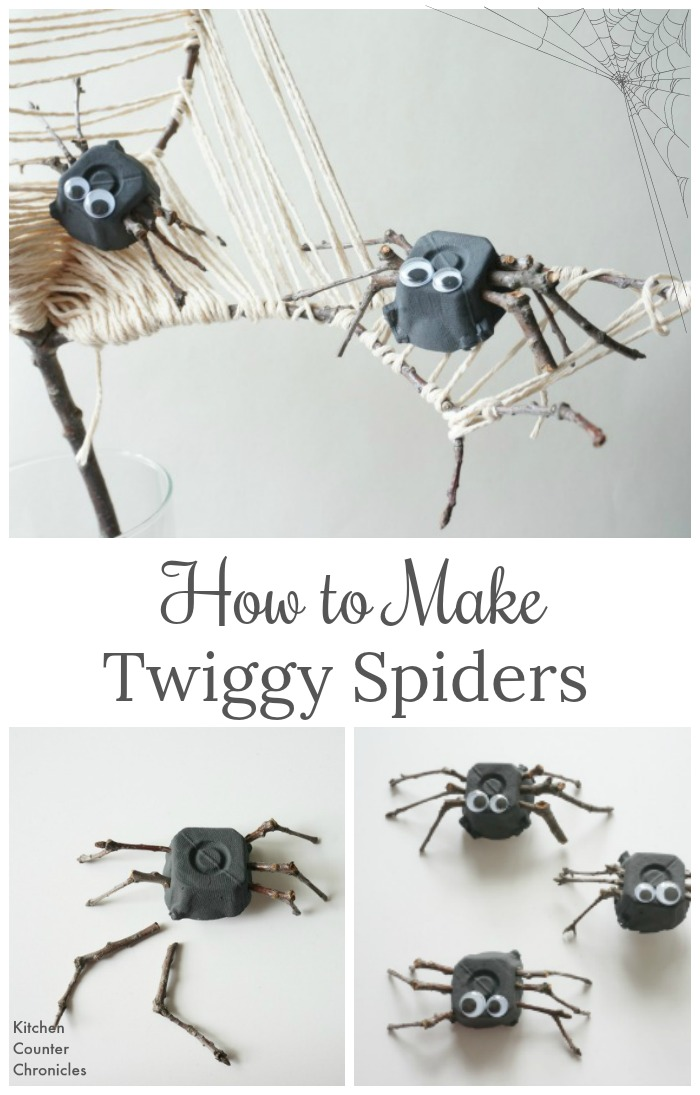 How to Make Twiggy Spiders - Spiders made from twigs and egg cartons. Fun Halloween craft for kids or adults to make. | Halloween craft for tweens | Spider craft |