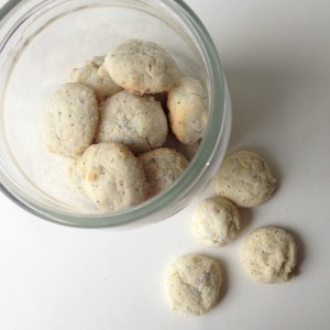 lemon poppy seed cookies in jar