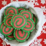 christmas pinwheel cookies in cookie tin