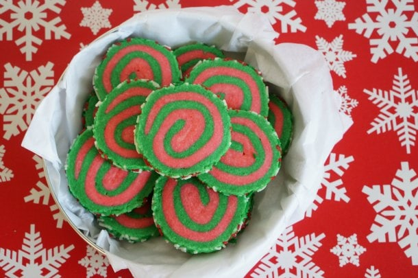 christmas pinwheel cookies in cookie tin