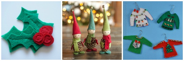felt christmas ornaments - felt elves, felt holly