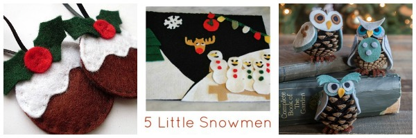 felt christmas ornaments 5 little snowmen