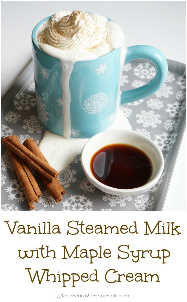 vanilla steamed milk with maple syrup whipped cream