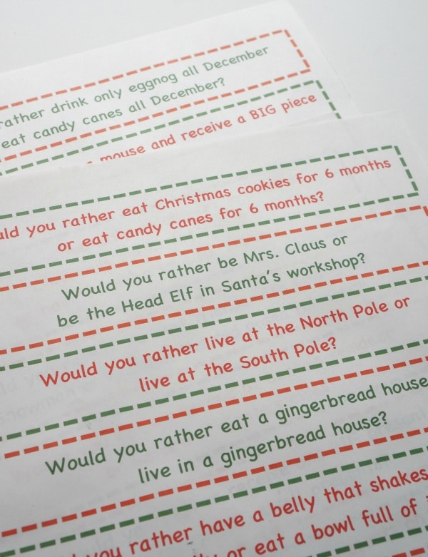 would you rather Christmas game for kids close up
