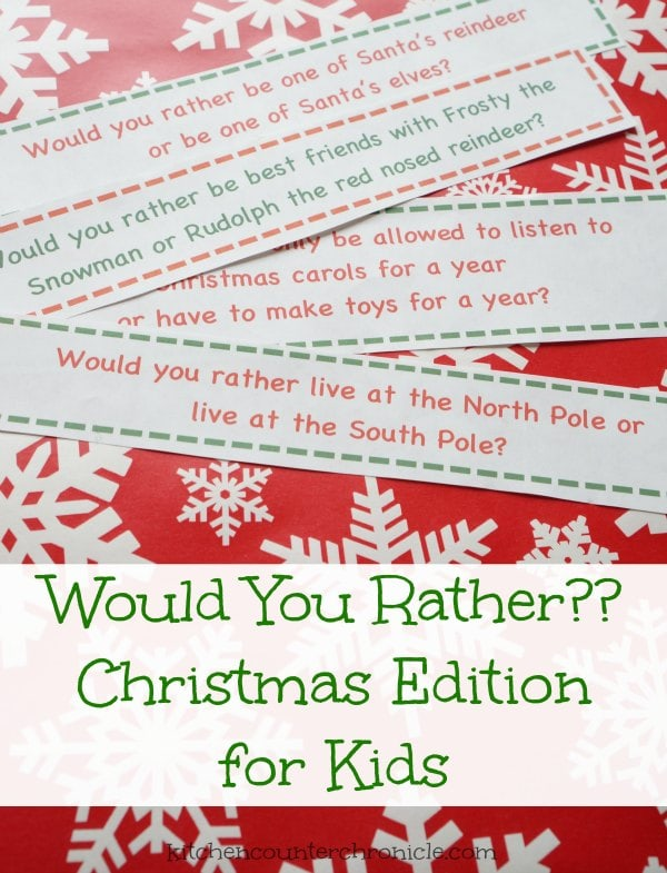 would you rather christmas game for kids - A fun, free printable holiday game the entire family can play, or pop them in the kids' lunch box. | #christmasprintable #freeprintable #christmasgameforkids #christmasgame #printablegame