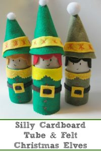 Cardboard Tube Christmas Elf Craft - A step-by-step tutorial for making these silly Christmas elves. Seriously fun to make these little guys and girls. | #Christmaself #Christmascraft #Christmascraftkids #cardboardtubecraft #toiletpaperrollcraft