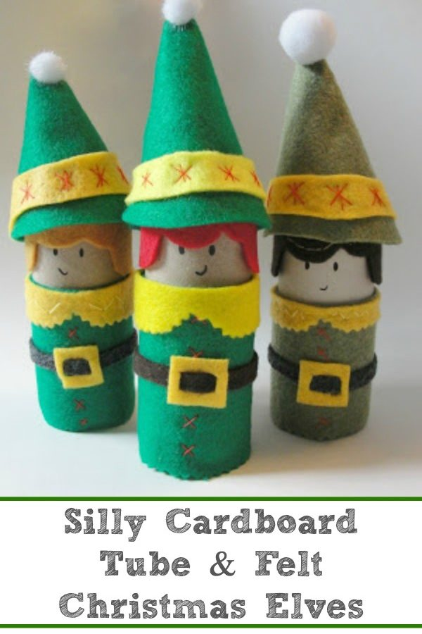 Silly Cardboard Tube and Felt Christmas Elf Craft